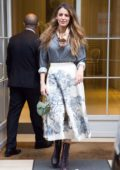 Blake Lively spotted in a printed skirt with a grey silk shirt as she leaves Dior office in Paris, France