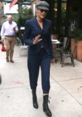 Blake Lively steps out in a dark blue suit towards the end of New York Fashion Week in New York City