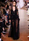 Blanca Padilla walks the runway for the Elie Saab Show during Paris Fashion Week in Paris, France