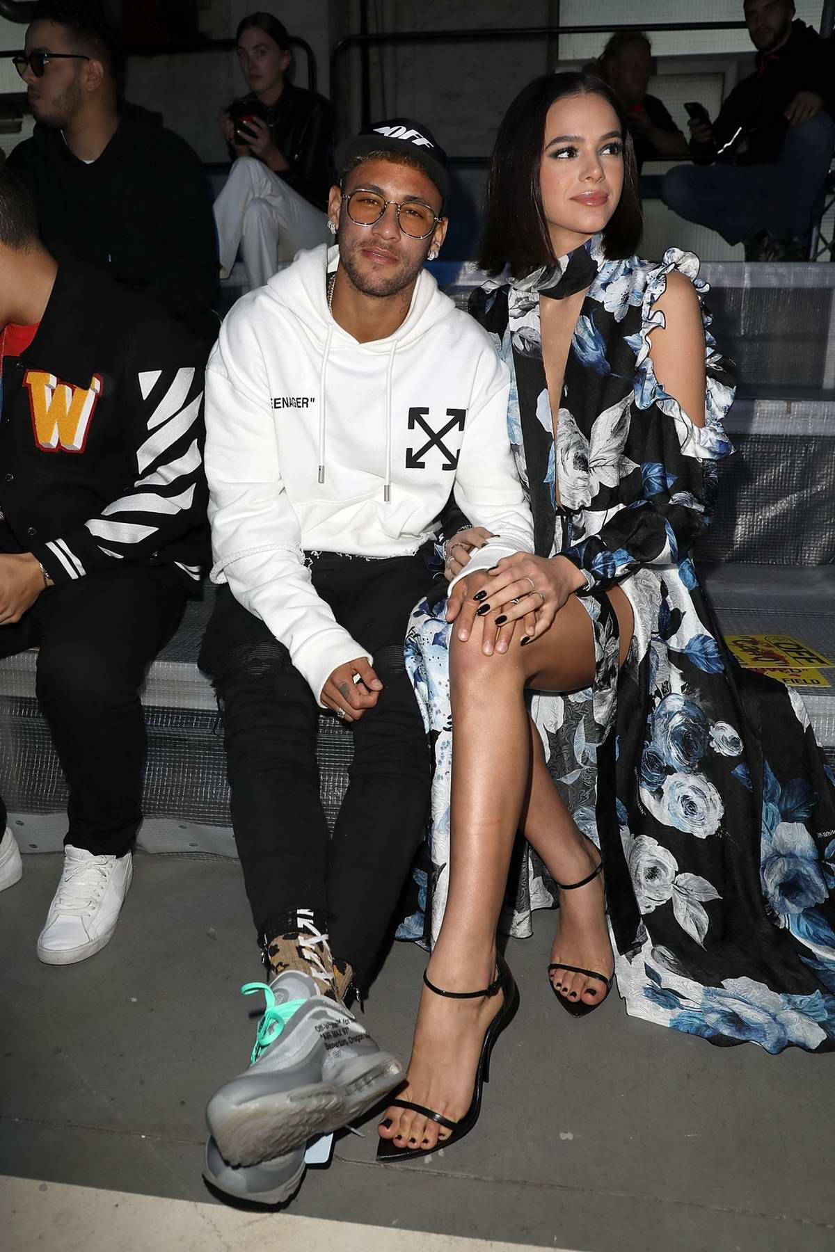 Bruna Marquezine and Neymar attends the Off-White Show during Paris Fashion Week in Paris, France