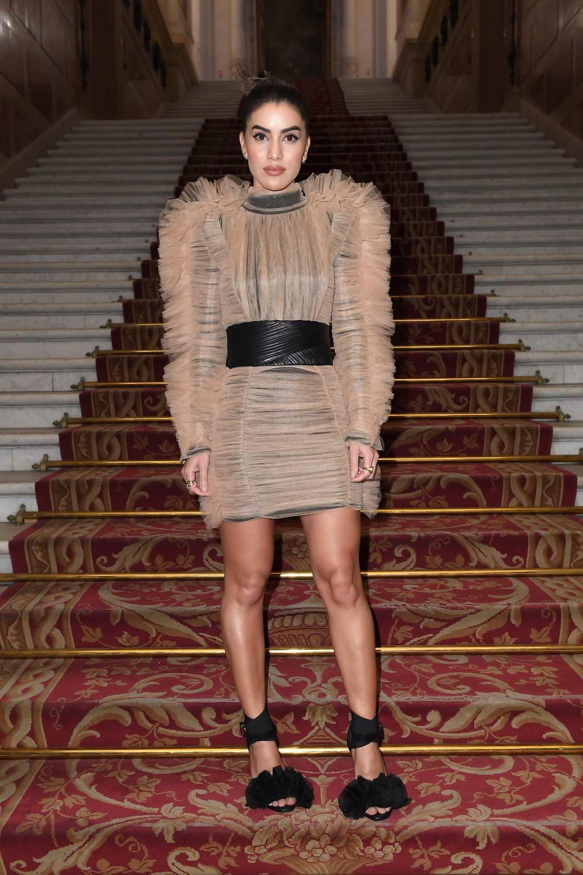 Camila Coelho attends the Balmain Show during Paris Fashion Week in Paris, France