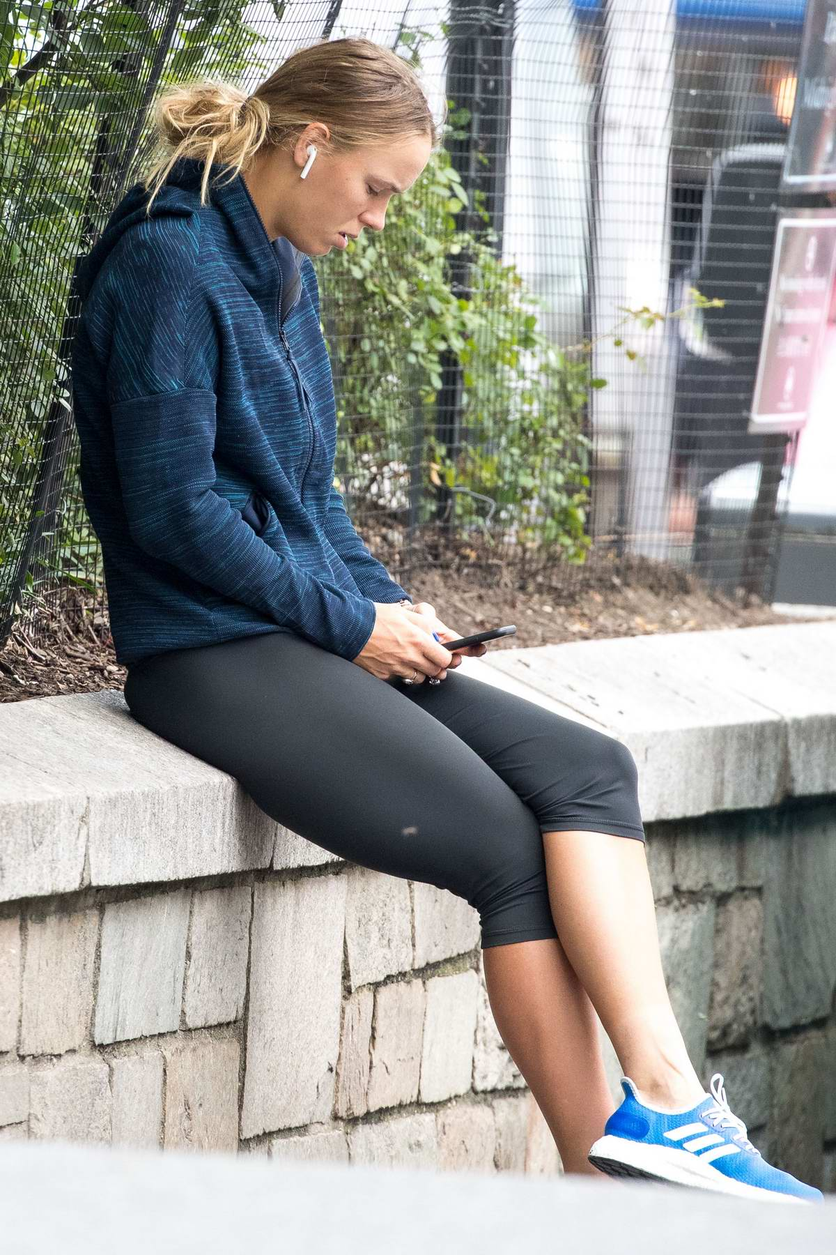 Caroline Wozniacki spotted for the first time after she crashed out in the second round of US Open 2018, New York City