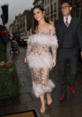 Cheryl Tweedy arrives at Nigel Hall's wedding at Claridges Hotel in London, UK