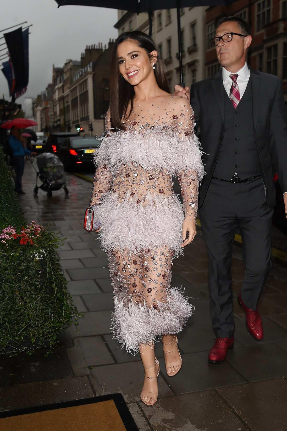 Cheryl Tweedy arrives at Nigel Hall's wedding at Claridges Hotel in London, UK