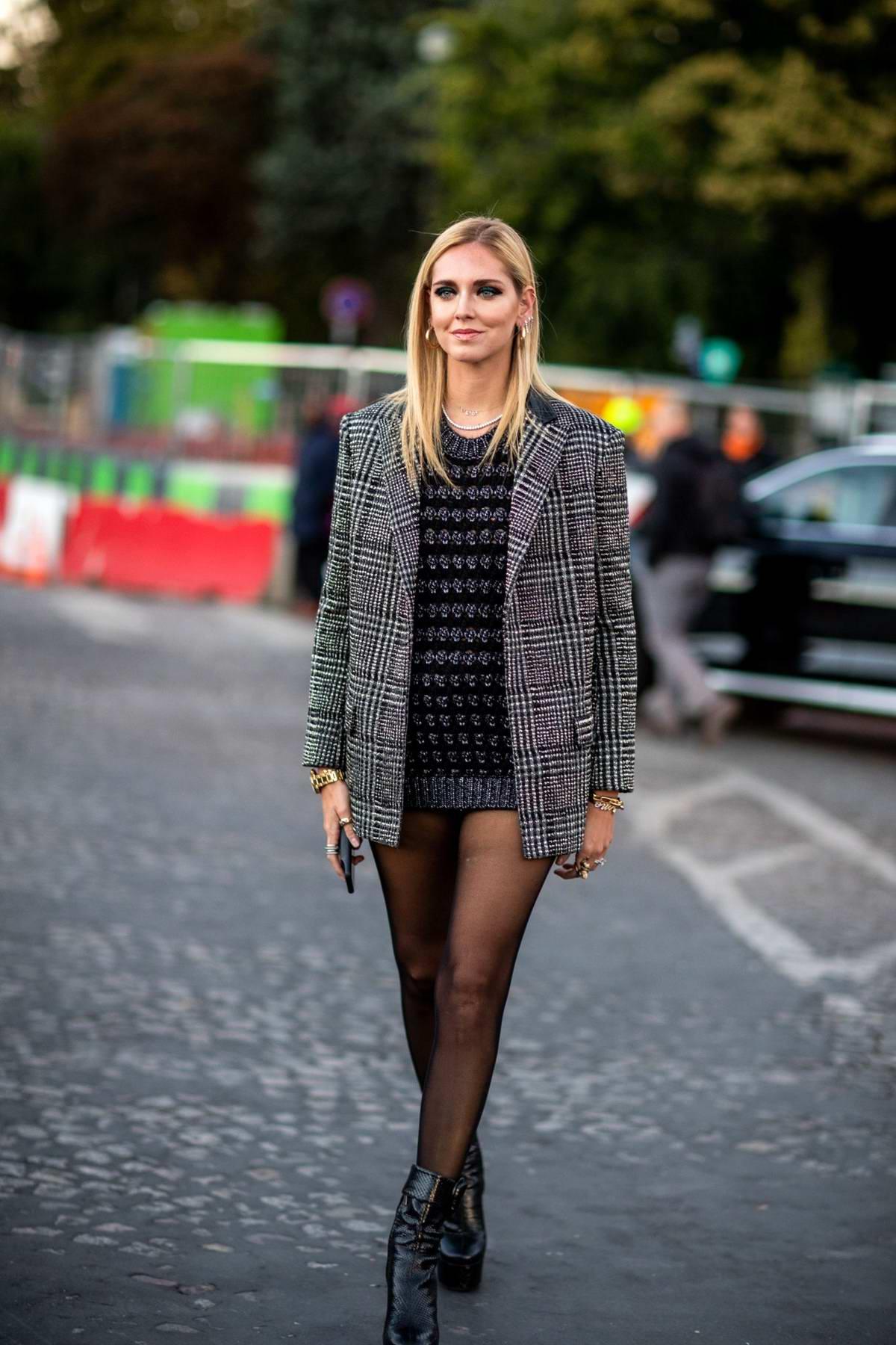 Chiara Ferragni attending Saint Laurent Show during Paris Fashion Week in Paris, France