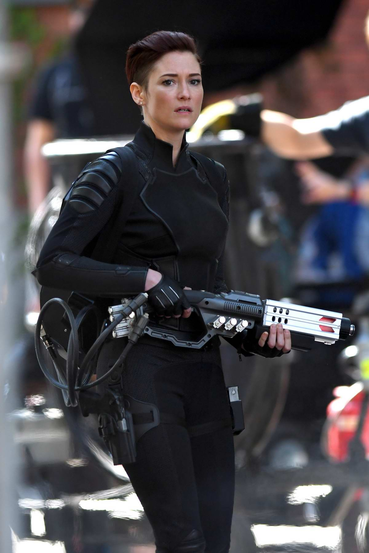 Chyler Leigh seen in her costume while filming some action scenes on the set of 'Supergirl' in Vancouver, Canada