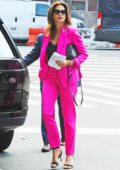 Cindy Crawford wears bright pink pantsuit as she arrives for lunch at 'While We Are Young Kitchen & Cocktails' in New York City