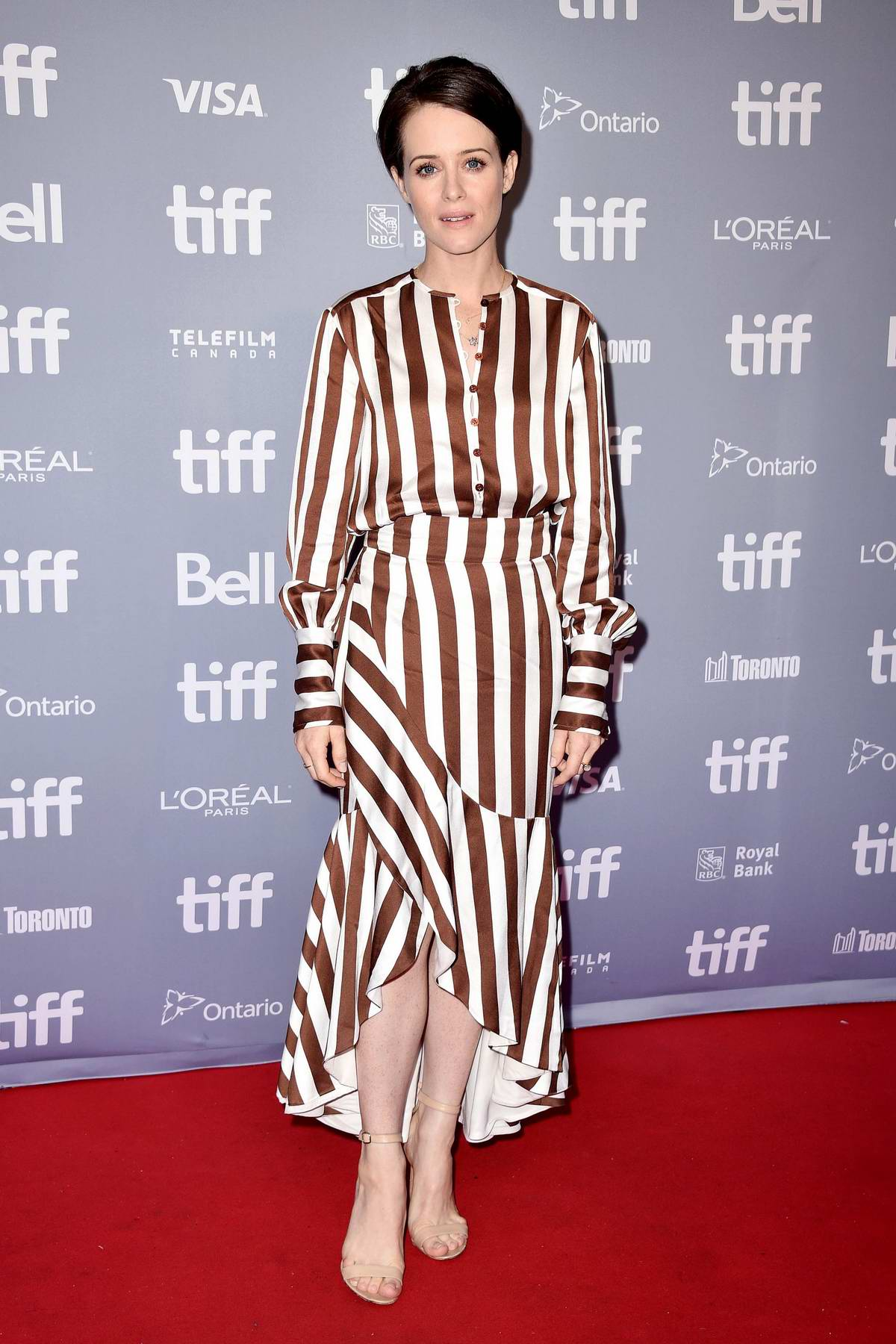 Claire Foy attends the 'First Man' press conference during 2018 Toronto International Film Festival (TIFF 2018) in Toronto, Canada