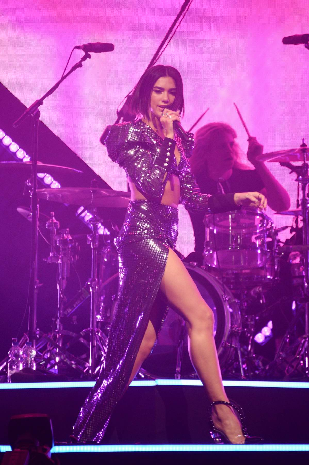 Dua Lipa performs during 'Dua Lipa x Jaguar' launch event hosted by Jaguar in Amsterdam, Netherlands