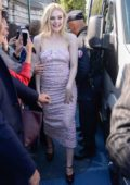 Elle Fanning arriving at the after-show of the L'Oreal Fashion Show in Paris, France