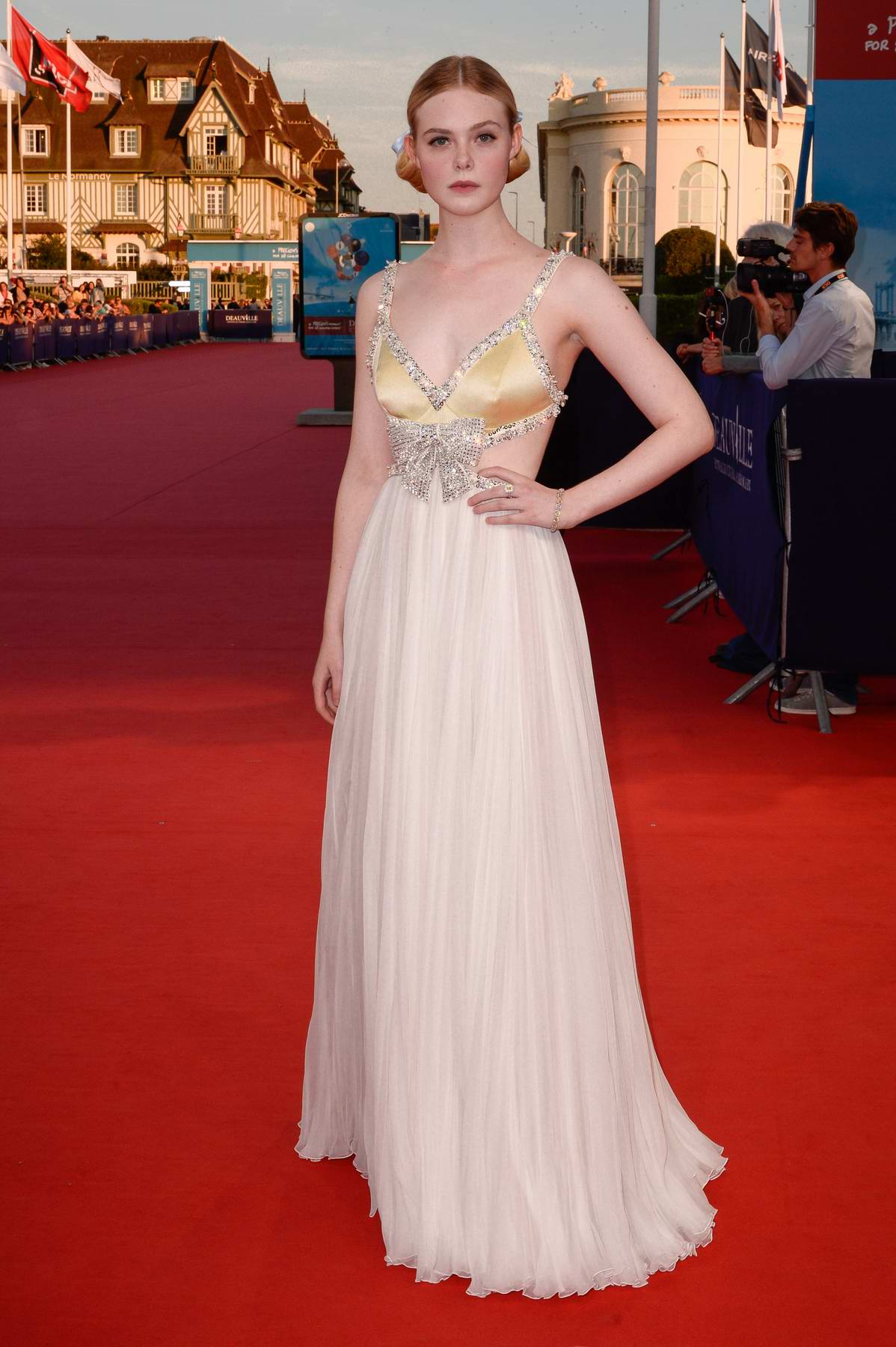 Elle Fanning attends 'Galveston' premiere during the 44th Deauville American Film Festival in Deauville, France