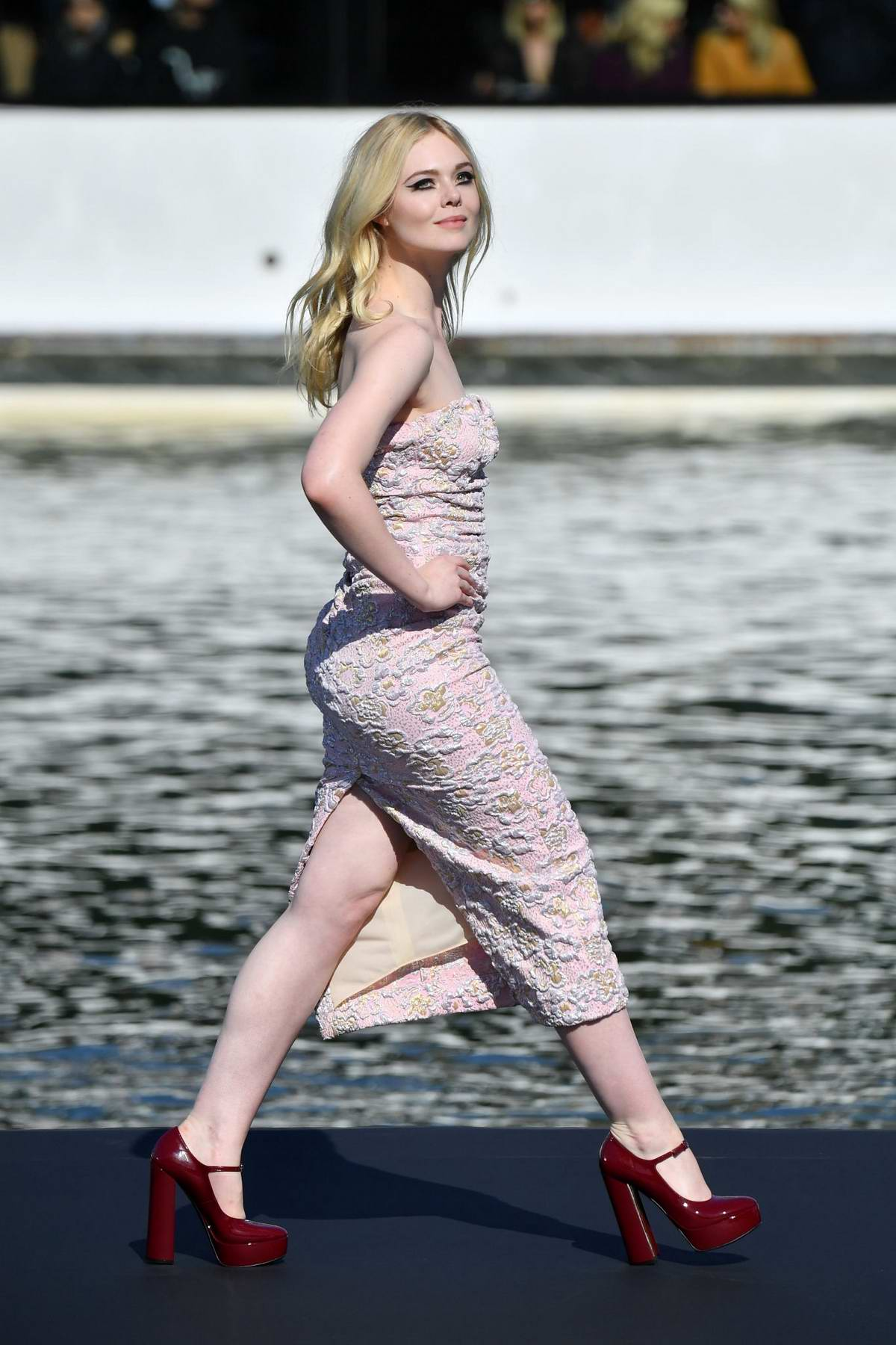 Elle Fanning walks the runway for the L'Oreal Fashion Show during Paris Fashion Week in Paris, France