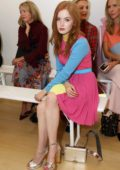 Ellie Bamber attends the Emilia Wickstead Front Row during London Fashion Week in London, UK