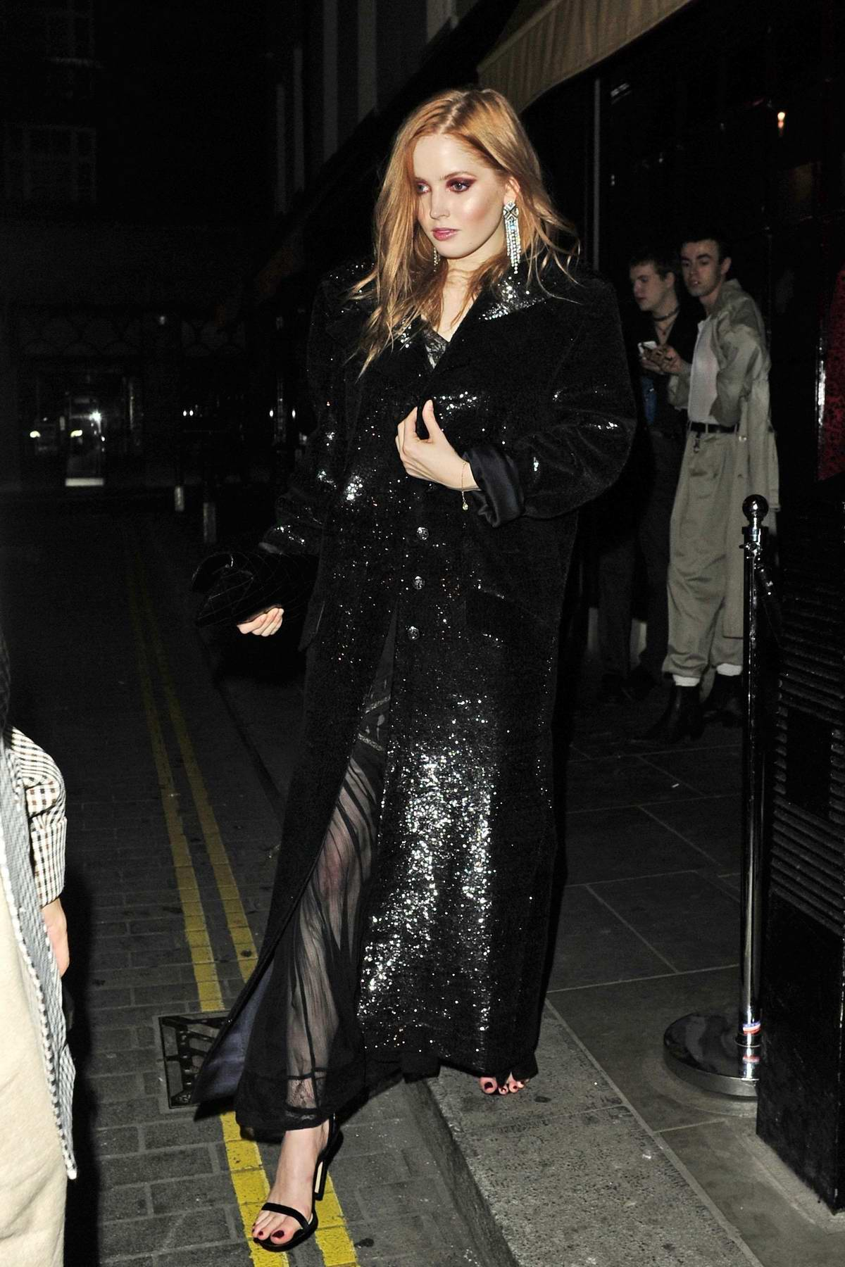 Ellie Bamber leaves the LOVE Magazine 10th Birthday Party at Loulou's during London Fashion Week in London, UK