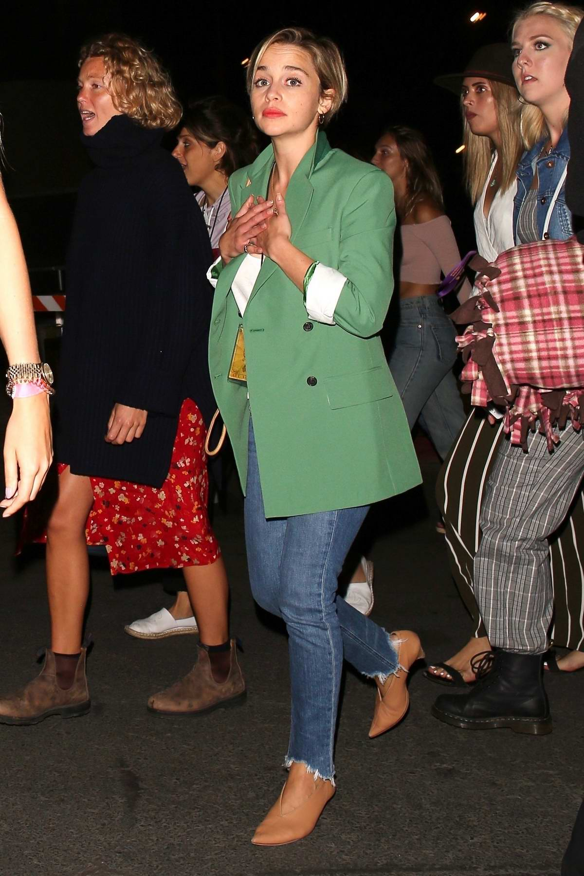 Emilia Clarke enjoys a night out watching Florence + The Machine at the Hollywood Bowl in Los Angeles