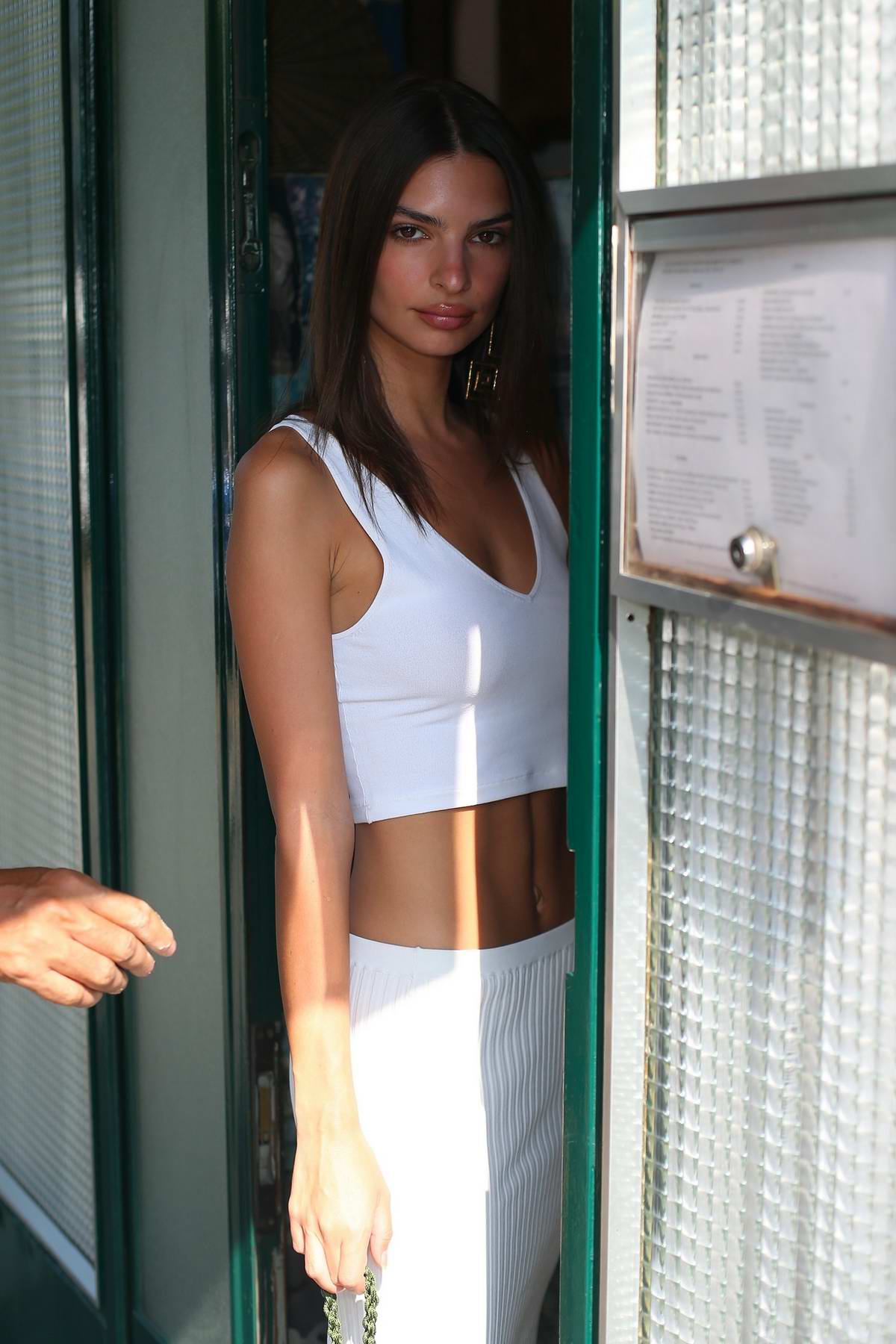 9dc1b81e6b52c5 emily ratajkowski looks chic in a white crop top with matching skirt ...