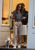 Emily Ratajkowski steps out in a dark grey cropped top and plaid trousers while shopping with a friend and their dogs in SoHo, New York City