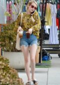 Emma Roberts seen running errands later picking up an artwork from a gallery in Los Angeles
