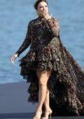 Eva Longoria walks the runway for the L'oreal Fashion Show during Paris Fashion Week in Paris, France