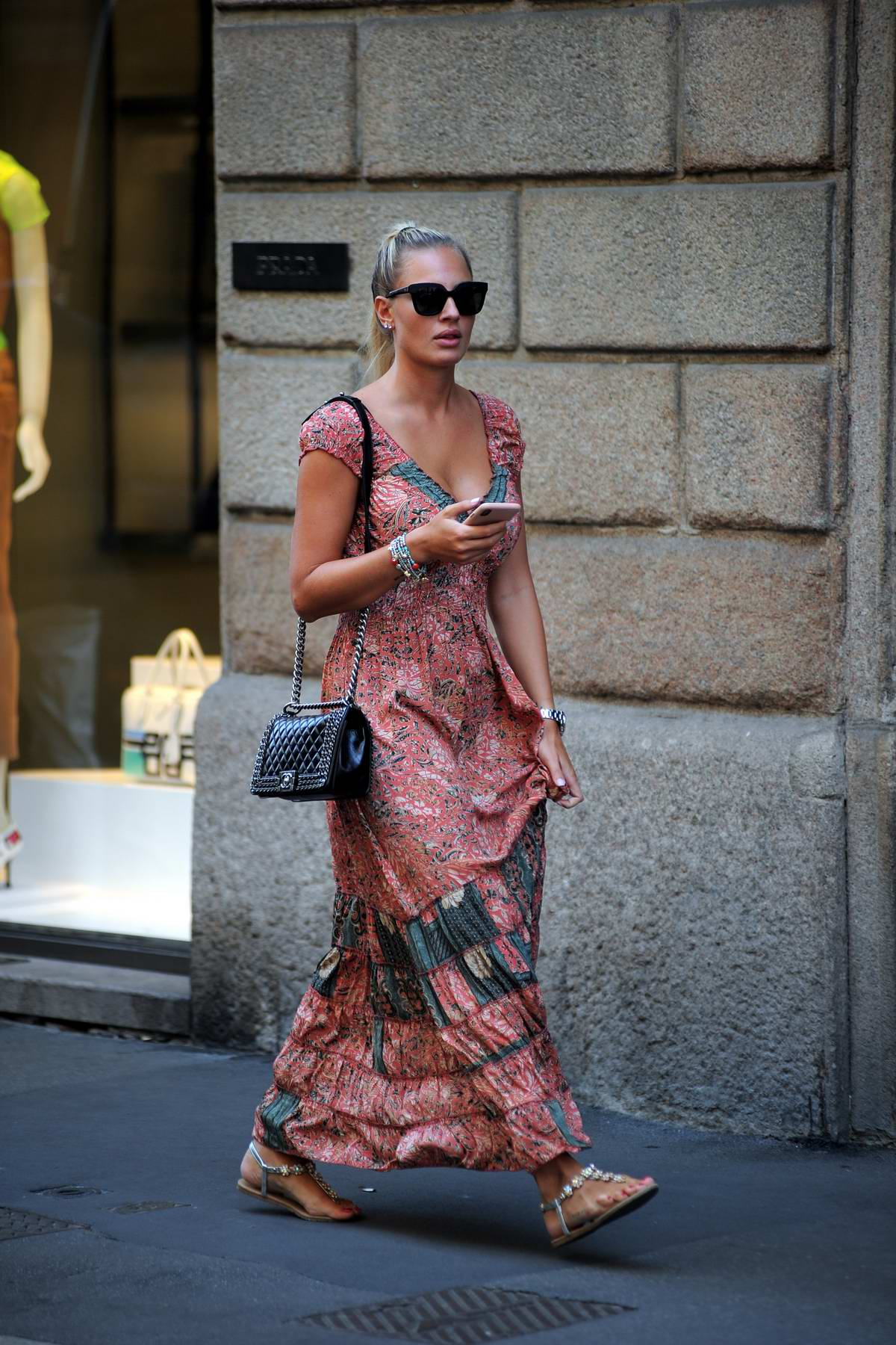 Francesca Brambilla spotted while out shopping at Via Montenapoloeone in Milan, Italy