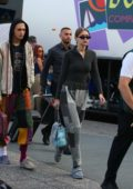 Gigi and Anwar hadid seen out and about during Milan Fashion Week in Milan, Italy