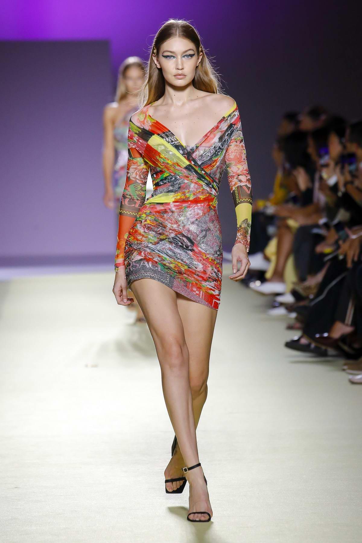 67a04ce49d8 Gigi Hadid walks the runway at Versace Fashion Show during Milan Fashion  Week