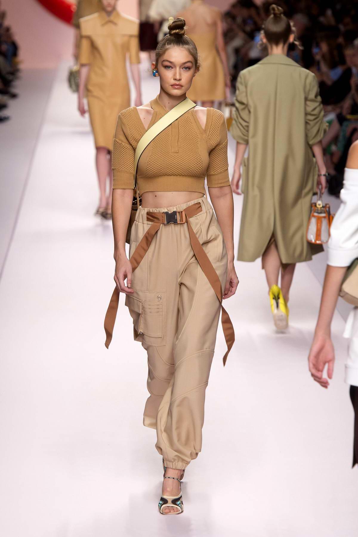 Gigi Hadid walks the runway for Fendi Fashion Show, Summer/Spring 2019 during Milan Fashion Week in Milan, Italy