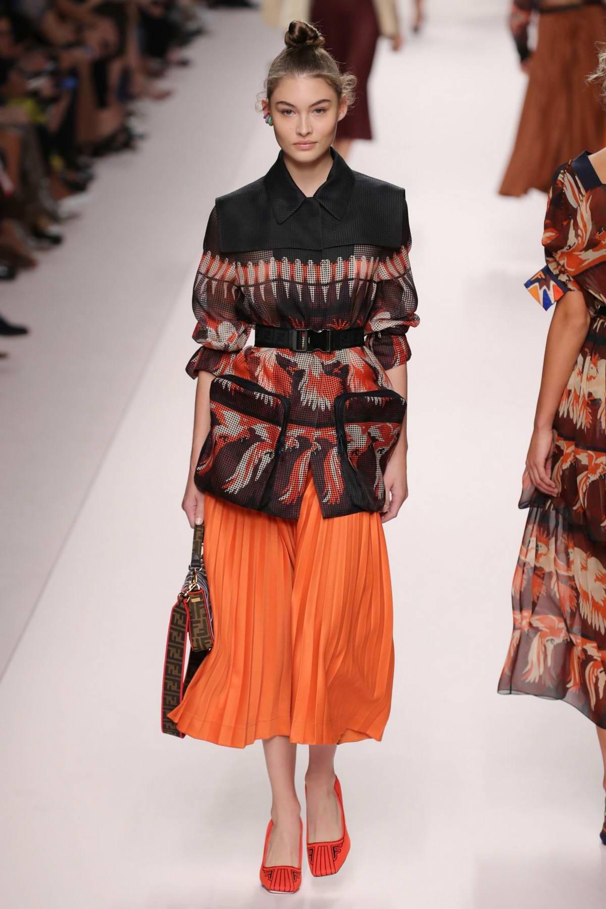 Grace Elizabeth walks the runway for Fendi Fashion Show, Summer-Spring 2019 during Milan Fashion Week in Milan, Italy