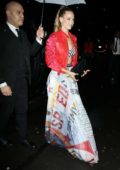 Hannah Ferguson arrives at the Tommy Hilfiger bash during New York Fashion Week in New York City