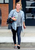 Hilary Duff looks exhausted as she leaves Cycle House after her workout in Studio City, Los Angeles