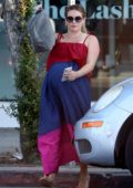 Hilary Duff looks lovely in a colorful dress during her trip to the nail salon in West Hollywood, Los Angeles