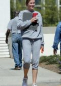 Ireland Baldwin keeps it casual in grey sweats as she exits the LA Federal Building in Westwood, Los Angeles