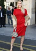Iskra Lawrence steps out in red during Paris Fashion Week in Paris, France