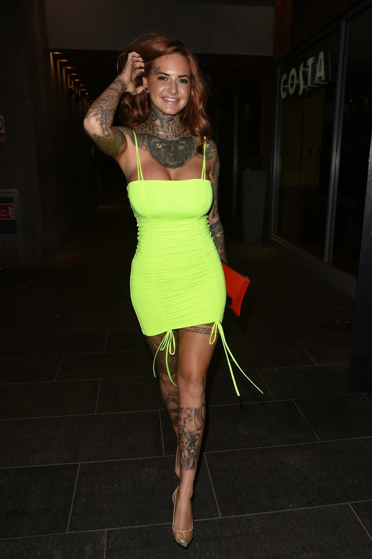 jemma lucy spotted in a neon green minidress while ...