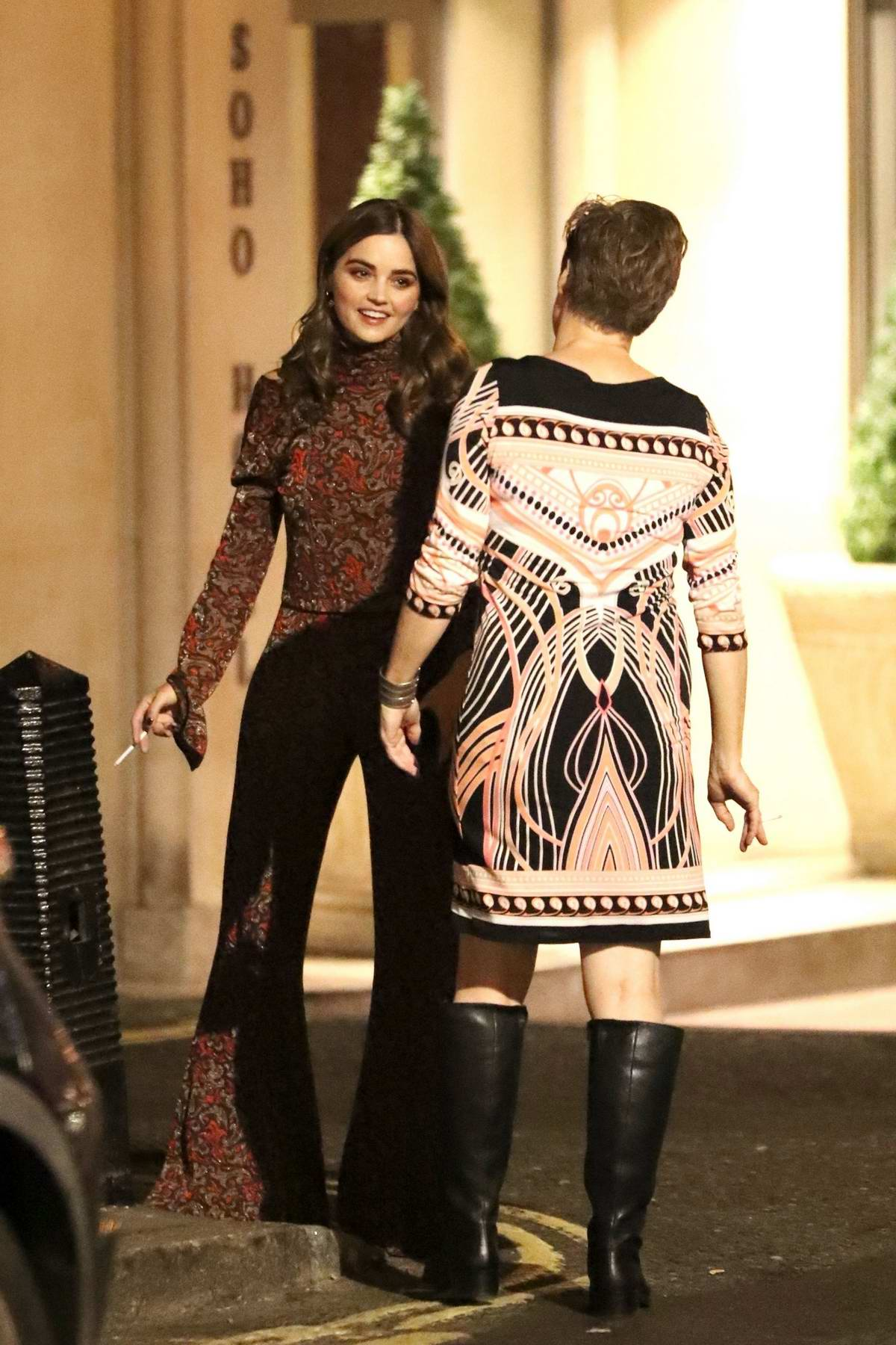 Jenna Coleman seen chatting with fans outside Soho Hotel in London, UK