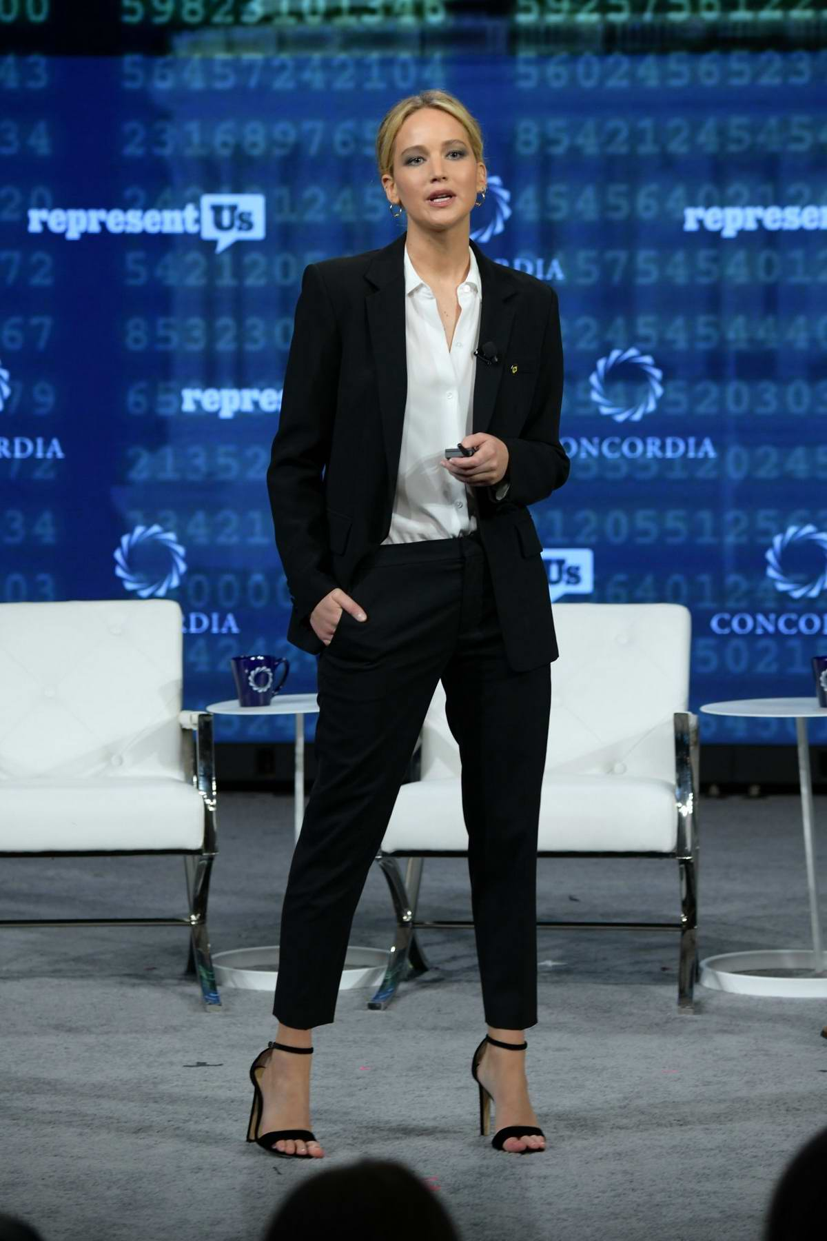 Jennifer Lawrence speaks onstage during the 2018 Concordia Annual Summit, Day 2 in New York City