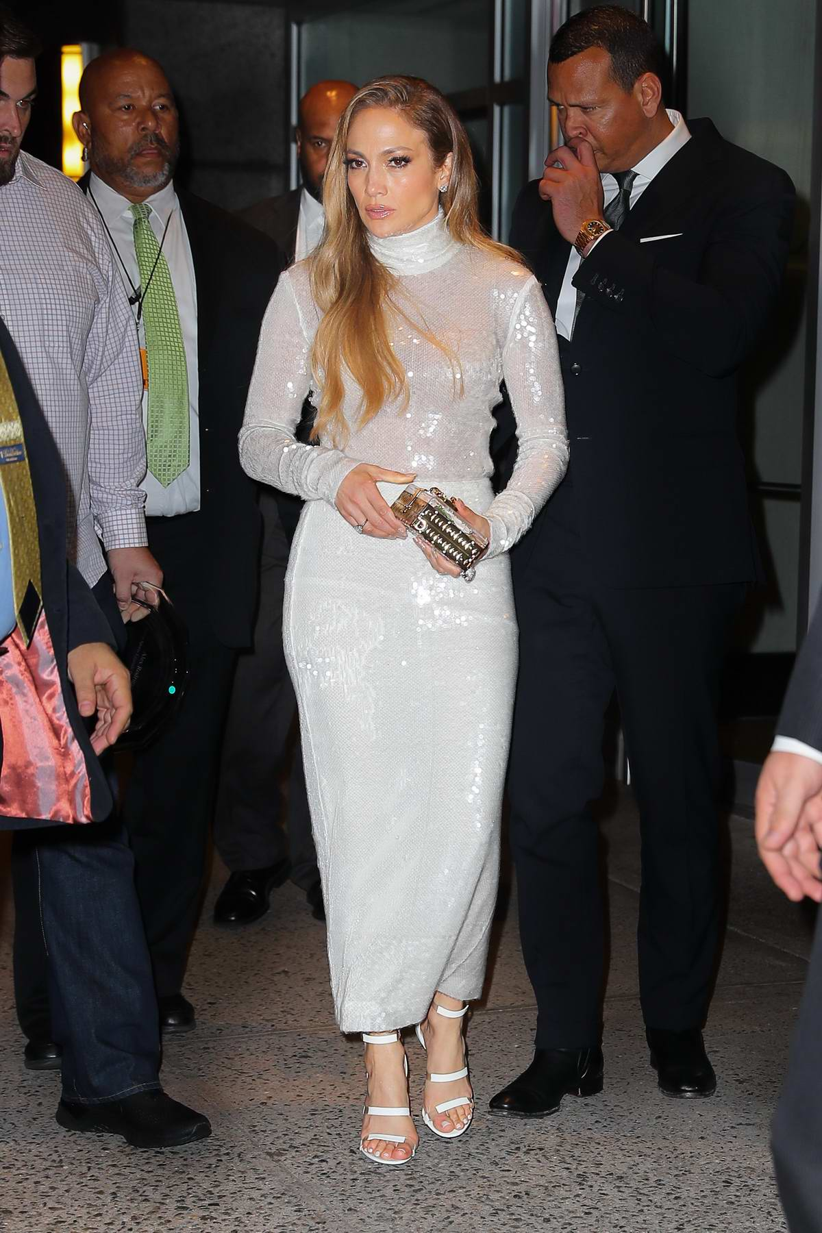 Jennifer Lopez wears a pastel blue dress while out on a date night with Alex Rodriguez in New York City