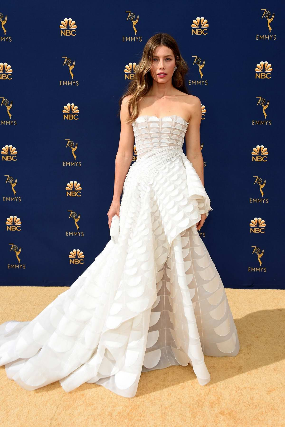 Jessica Biel and Justin Timberlake attends the 70th Primetime EMMY Awards (EMMYS 2018) at Microsoft Theater in Los Angeles