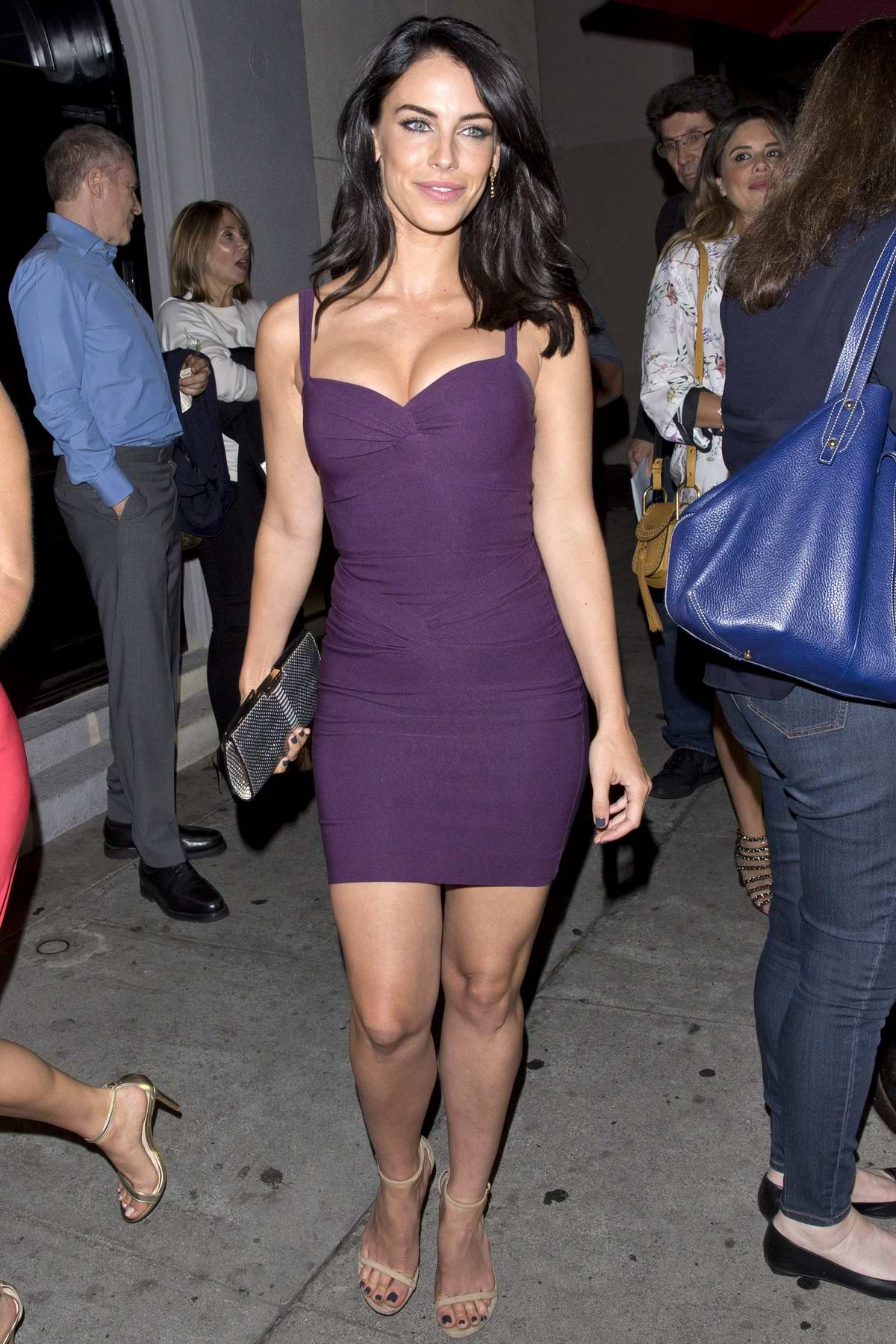 Jessica Lowndes seen wearing a formfitting purple minidress as she leaves Craig's Restaurant in West Hollywood, Los Angeles