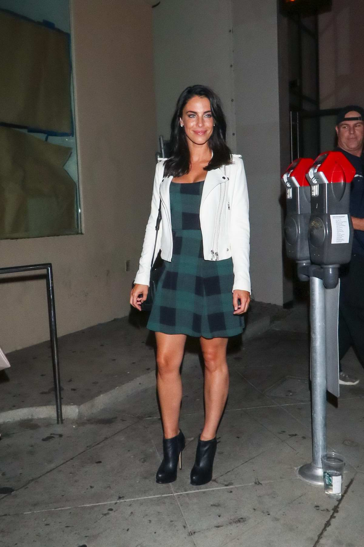 Jessica Lowndes wore a green plaid minidress as she leaves Catch Restaurant in West Hollywood, Los Angeles