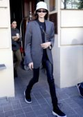 Kaia Gerber leaves her hotel to attend the Off White Training Show during Paris Fashion Week in Paris, France