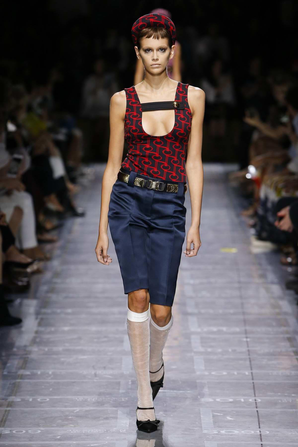 Kaia Gerber walks the runway at Prada Fashion Show, Summer/Spring 2019 during Milan Fashion Week in Milan, Italy