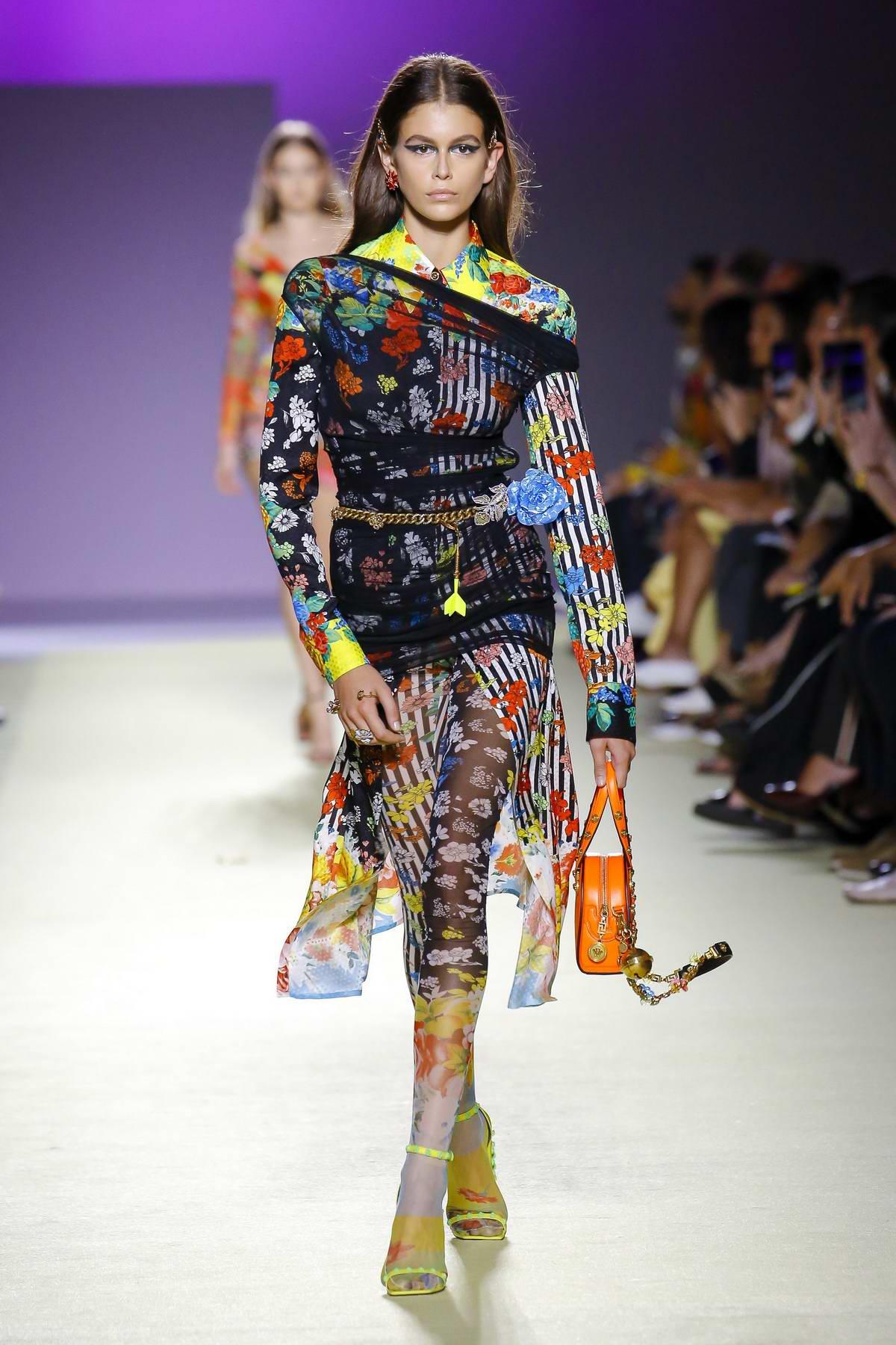 Kaia Gerber walks the runway at Versace Fashion Show ...