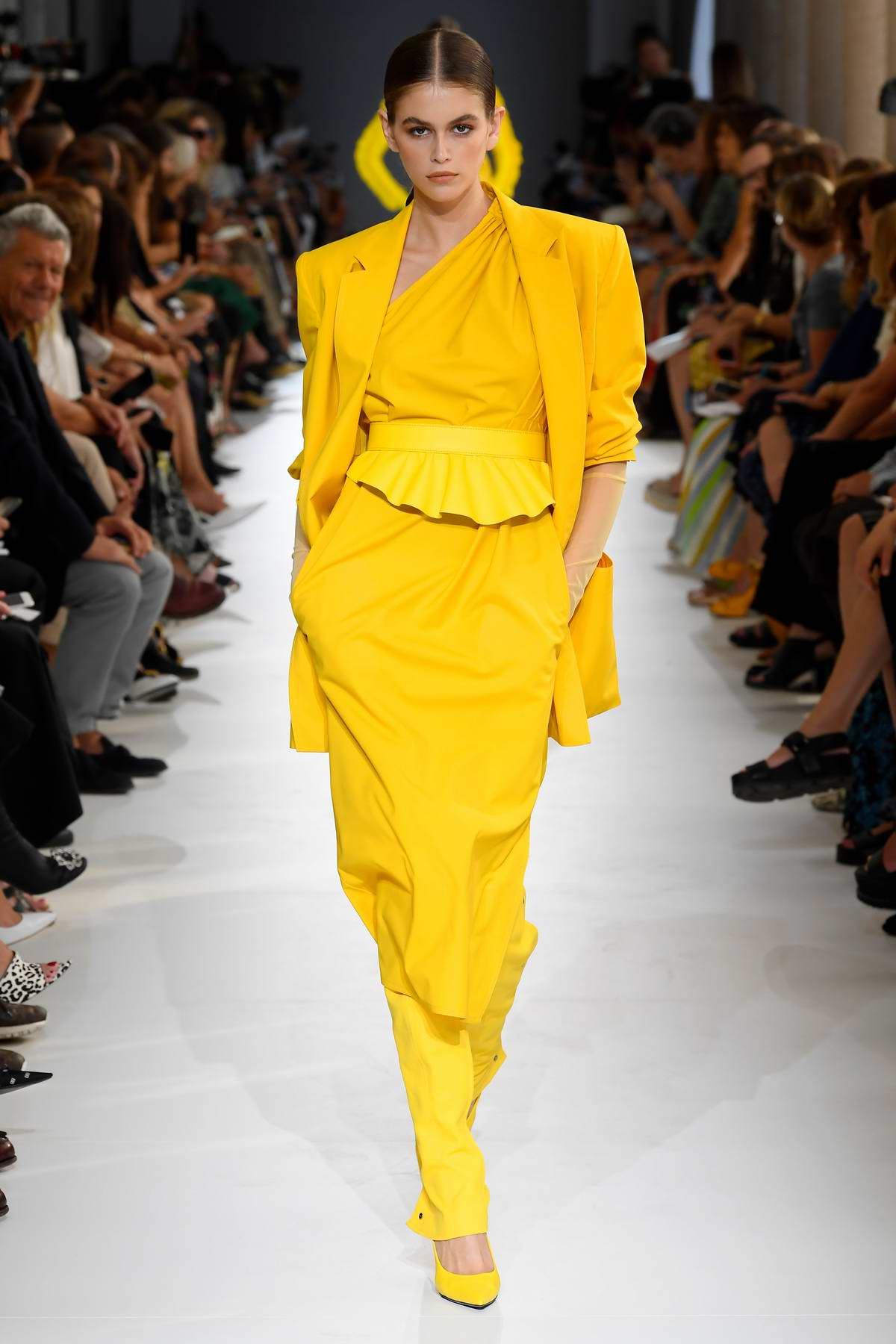 Kaia Gerber walks the runway for Max Mara Show, Summer-Spring 2019 during Milan Fashion Week in Milan, Italy