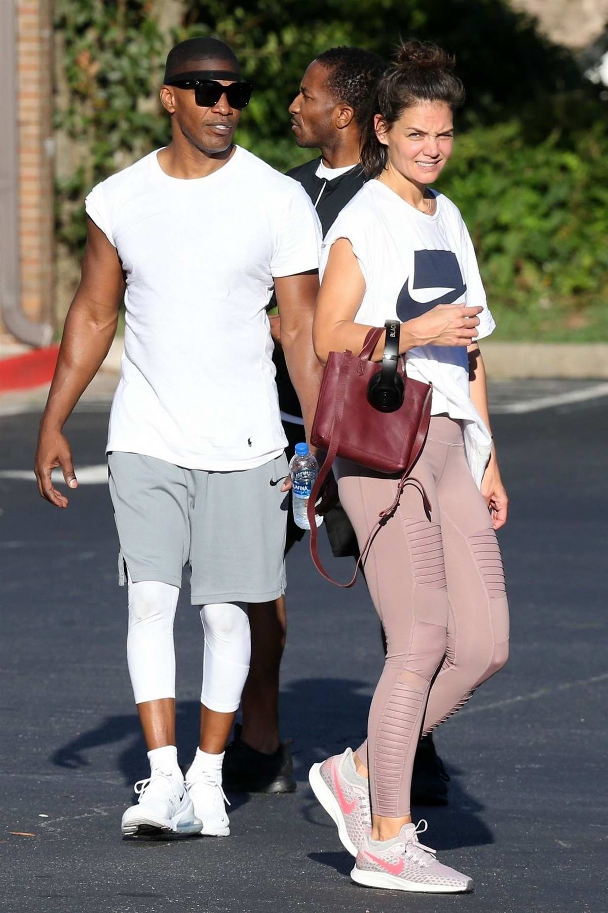 Katie Holmes and Jamie foxx spotted leaving the gym in Atlanta, Georgia