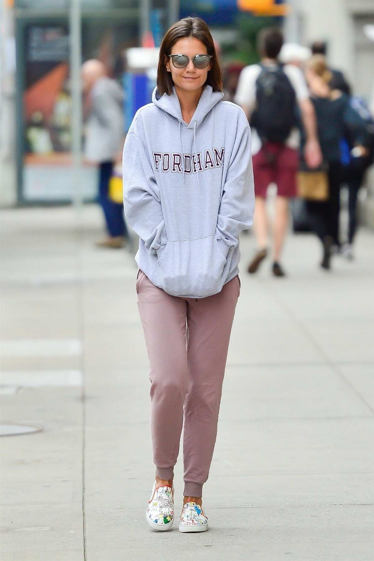 Katie Holmes keeps it comfy in a hoodie and sweatpants while out in New York City