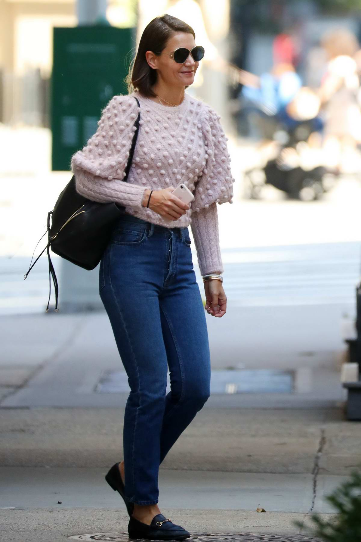 a729c61be44 Katie Holmes seen wearing a pink sweater and jeans while out in New ...