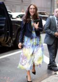 Keira Knightley wears a patterned blue dress with navy blue jacket as she arrives at 'Good Morning America' in New York City