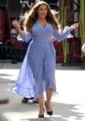 Kelly Brook looks lovely in a long blue dress while filming in London, UK