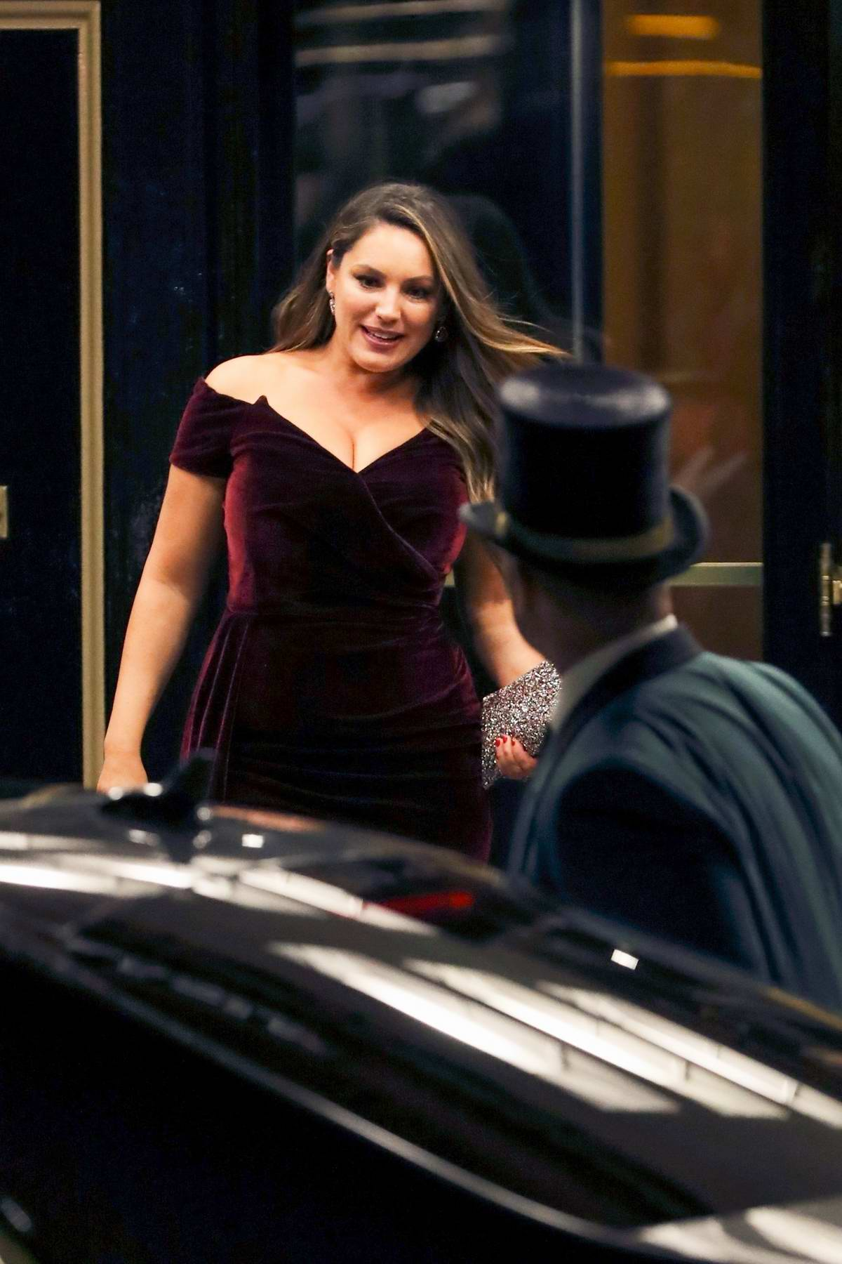Kelly Brook spotted leaving The Dorchester Hotel in London, UK